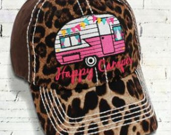 Leopard AND Brown 'HAPPY CAMPER' Cap