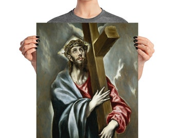 Christian print - Christ Carrying the Cross by El Greco - religious poster - christian wall art - religious wall decor