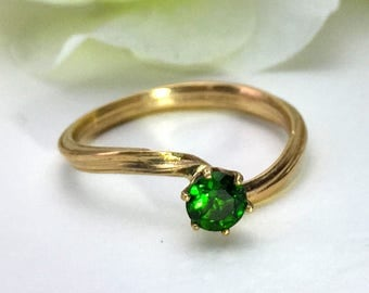 Chrome diopside, Alternative Engagement Ring, Solitaire, 14 karat gold,  nature ring, organic ring,  promise ring, orokoro