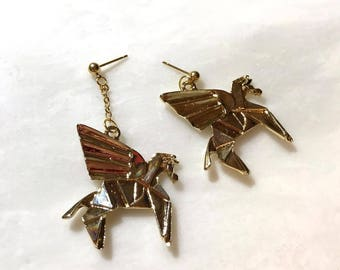 Gold Flying Pegasus Horse Unbalanced Gold Stud Earrings