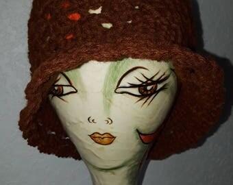 "Womens Vintage "".68 cent"" Yarn Dark Coffee Colored Female Girls Womens Chemo Cap"