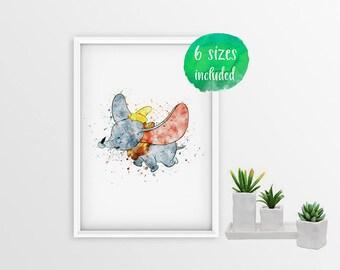 70% OFF Dumbo watercolor, disney dumbo, Dumbo the elephant, dumbo print, dumbo poster, dumbo wall art,disney poster,disney art 10391a