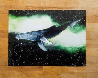 Space Whale watercolor - A5 Print