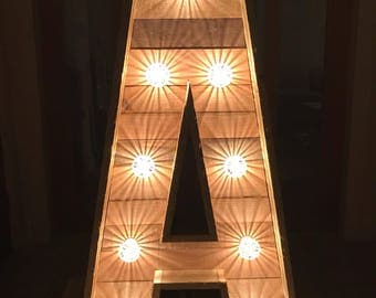 4ft Large Rustic Pallet Wooden Wedding Light Up Individual Letters