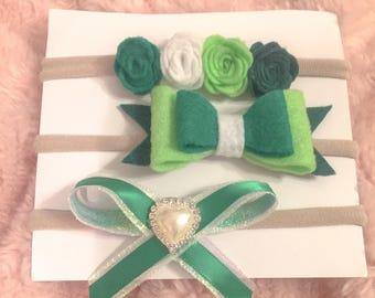 St. Patrick's Day headbands, felt flowers, bow nylon headband