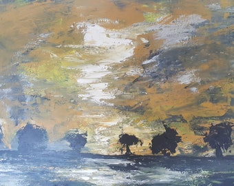 The Day After the Flooding, Original Abstract Landscape Painting