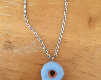 Blueberry frosted donut necklace