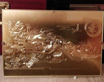 Brass engraved japanese style panorama