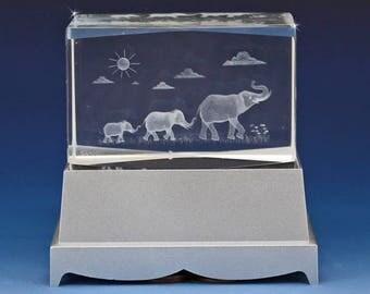 3D Glass Laser Cube - Elephant Train