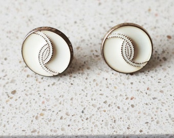 Vintage Button Earrings, Handmade Earrings, Round Earrings, Gold Earrings, Statement Earrings, Stud Earrings, Mother Gift, Gifts for Her