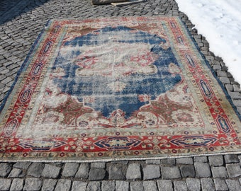 Free Shipping to Worldwide Turkish Rug 7.x9.4 ft. Floor Rug Handknotted Wool Large Size Rug Rare Vintage Rug Turkey Rug Ethnic Rug MB11