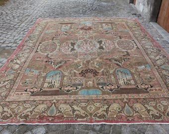 Antique Rug Oushak Rug Anatolian Rug 9.5 x 12.5 ft. Large Area Rug Low Pile Very Rare Rug Handknotted Rug Excellent Condition Rug MB223