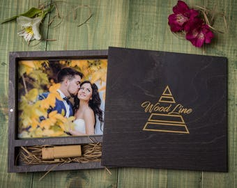 "Personalised 5x7"" Wooden box for photos and USB stick. Wedding gift. Keepsake Box Wood Picture Box Anniversary Gift for Couple Photo Box"