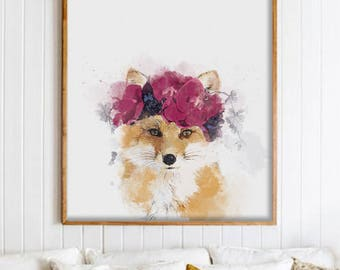 Flower Fox in Watercolor Technique - Fox Living room Wall Art - Woodland Animal - Fox Painting