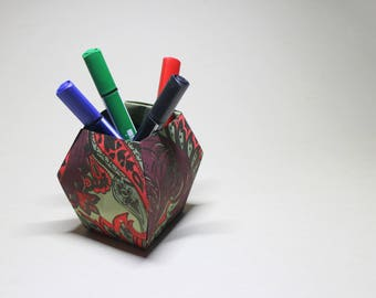 Origami pencil holder made form hand stamped Indian paper - Desk pen holder - Office pen holder  - All natural