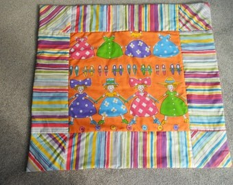 "Handmade Quilt, Snuggle Blanket or  Play Mat,  39"" x 36"" with Vibrant Dolly Pictures and Stripes"