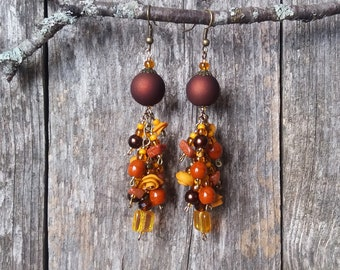 Ground Coffee and Caramel Indulgence - Romantic Statement Earrings