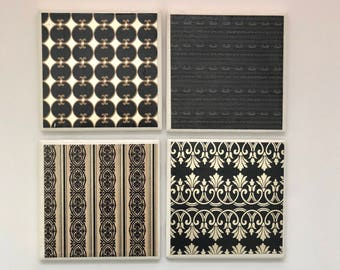 Black and Gold Coaster Set, Black Cream Gold Decorative Coaster Tile Set (Set of 4), Tile Coasters, Black and Gold Ceramic Coasters