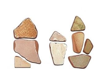Brown Sea Pottery, Sea Ceramics, Mosaic Supplies, Beach Pottery, Sea Pottery Pieces, Mosaic Tiles