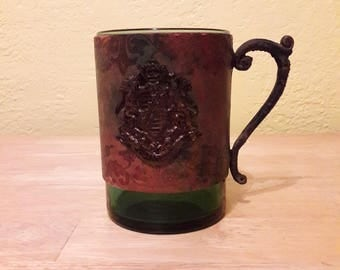 Leather Wrapped Green Drinking Mug Made in Italy