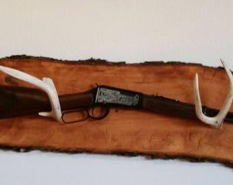 Rustic Live Edge Oak Gunrack with Antlers