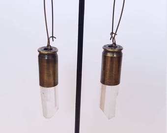 Quartz Crystal Bullet Earrings