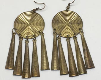 Gold Aztec Drop Earrings