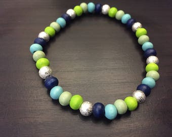 Blue and Green wooden bead stretchy bracelet