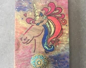 Handpainted  Unicorn decorative wall hook