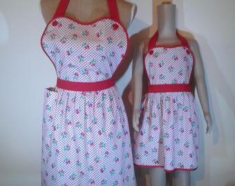 Handmade adult and children's retro apron