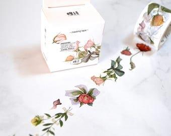 Vintage Rose Masking Tape , Washi Tape Sticker,  Scrapbook Supplies