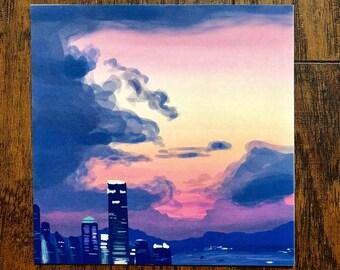 Foggy City Sunset