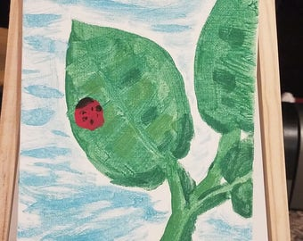"Original Ladybug on Leaf Tempera Paint on 8x6in Canvas Board Green, Red, Blue - ""Little Lady"""