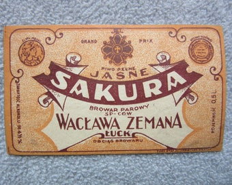 antique  Imperial Russia - Poland - Ukraine  BEER label  SAKURA