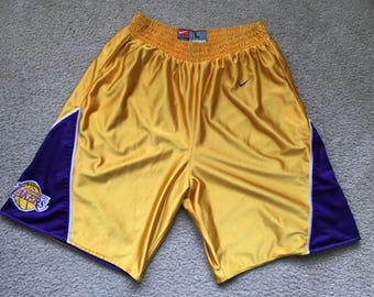 Men's Vintage 90s Team Nike NBA Los Angeles Lakers Reversible Basketball Shorts Size Large