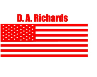 American Flag With Name Decal, American Flag, Decal