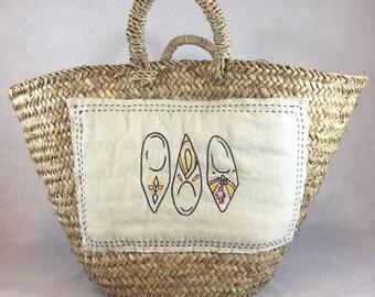 Basket storage basket basket embroidery basket beldi cart basket handmade Storage basket Palm leaf basket Natural basket