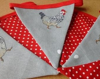 Hand Made Sophie Allport Chicken & Polka Dot Fabric bunting