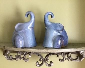 BLUE ELEPHANT FIGURINES Ceramic