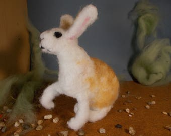 white and light brown needle felted rabbit