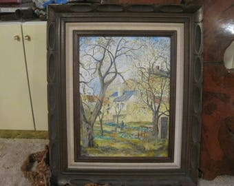 """25"""" By 20"""" Vintage  Painting Signed Foster 73' Beautiful Wood Frame"""