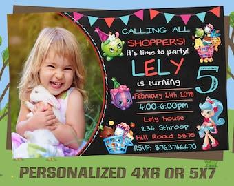 Shopkins Invitation, Shopkins Invite, Shopkins Birthday, Shopkins Party, Bithday Invitation, Shopkins Printable, Digital