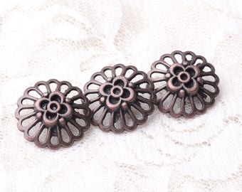 10pcs 20*9mm metal copper buttons flower buttons fashion shank buttons for coat sweater sewing