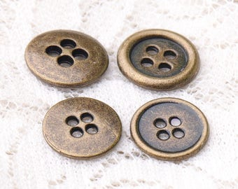 4 hole buttons  10pcs 11/10mm metal buttons round bronze buttons clothing buttons sewing coat shirt buttons
