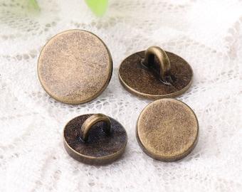 smooth buttons 2 size 12*6/10*6mm 10pcs shirt sewing button metal bronze buttons shank buttons