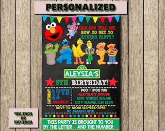 Sesame Street,Sesame Invitation,Sesame Street Birthday Invitation,Sesame Street Birthday,Birthday Invitation,Printable,Invitation