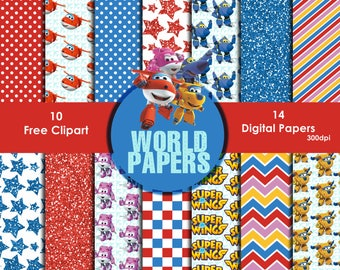 Super Wings Digital Paper - Digital Scrapbook Papers 12 x 12 inches, 300 dpi quality, Instant download,free cliparts,paper.