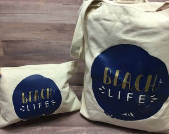 Beach Life Personalized Tote Bag and Wet/Dry Bag