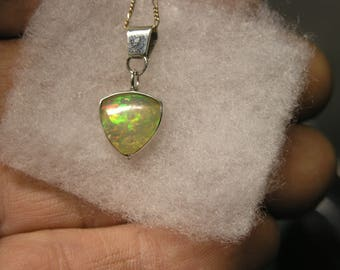 1000-10 Sterling Necklace with Ethiopian Opal Crystal