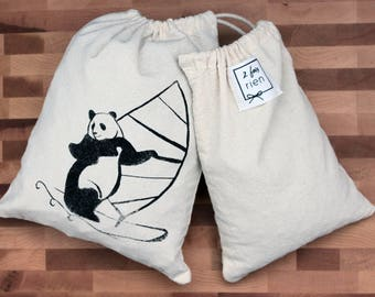 Bag in bulk, reusable cotton bag, handprinted, zero bag waste